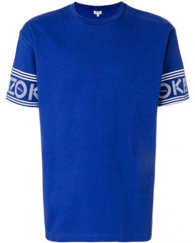 Синяя хлопковая футболка с логотипом Kenzo