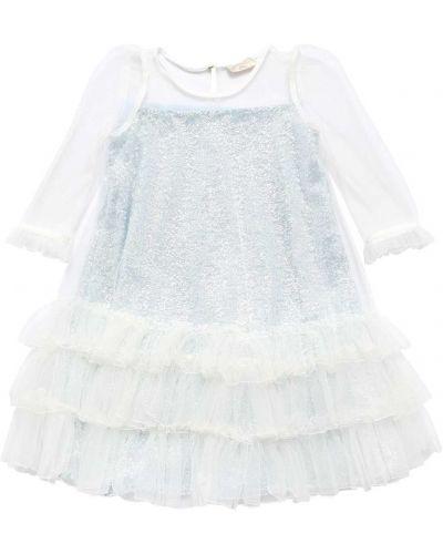 Шелковое платье - белое Monnalisa