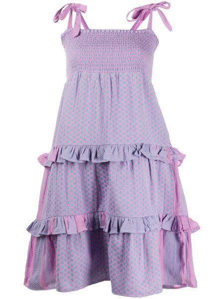 Фиолетовое тонкое платье на бретелях с оборками Cecilie Copenhagen