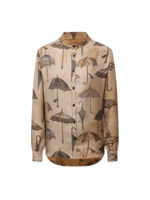 Коричневая шелковая блузка Uma Wang
