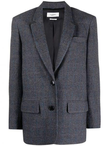 Серый удлиненный пиджак твидовый в клетку Isabel Marant étoile