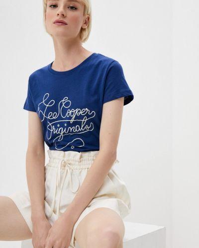 Синяя с рукавами футболка Lee Cooper