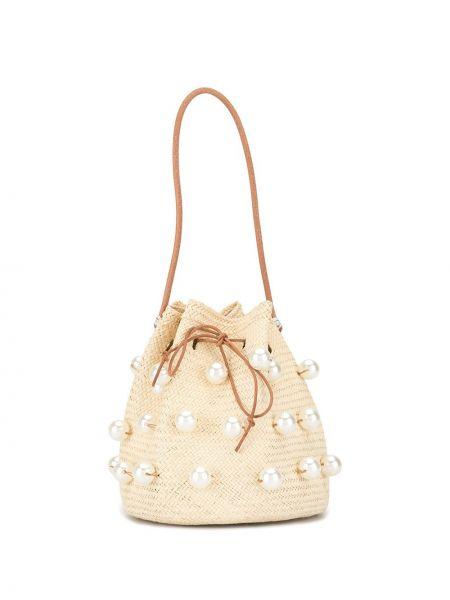 Brązowa torebka perły Mercedes Salazar