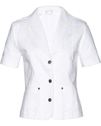 Пиджак с коротким рукавом на пуговицах белый Bonprix
