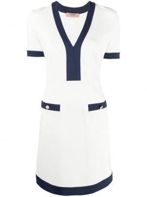 Белое платье мини с короткими рукавами с вырезом Twin-set
