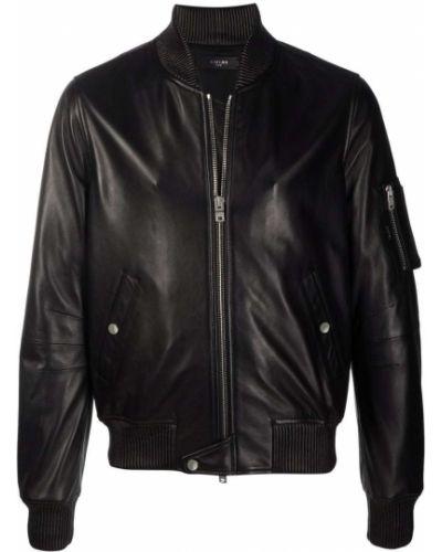Кожаная куртка длинная - черная Amiri