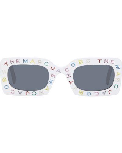 Кожаные белые солнцезащитные очки прямоугольные Marc Jacobs
