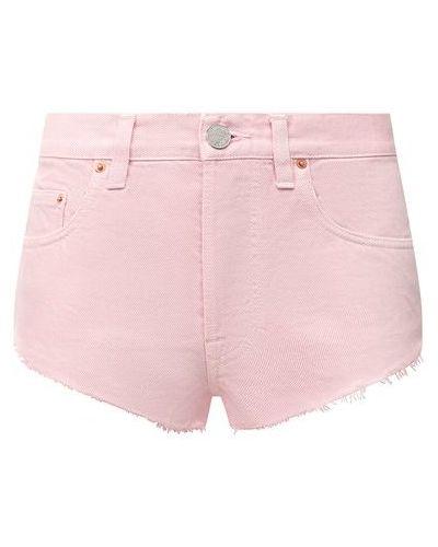 Розовые хлопковые джинсовые шорты Vetements