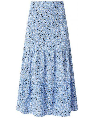 Niebieska spódnica maxi rozkloszowana z wiskozy Tom Tailor