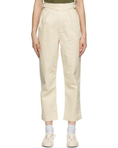 Брючные белые брюки с карманами с вышивкой Maison Kitsuné