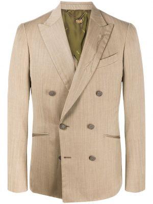 Шерстяной бежевый классический пиджак с лацканами с карманами Maurizio Miri