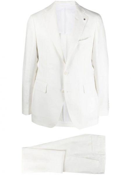 Biały garnitur slim z paskiem z długimi rękawami Tagliatore
