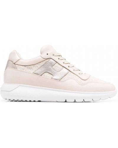 Кожаные кроссовки - розовые Hogan