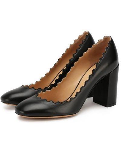 Черные кожаные классические туфли Chloé