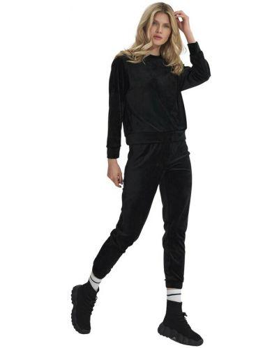 Czarne spodnie dresowe welurowe Figl