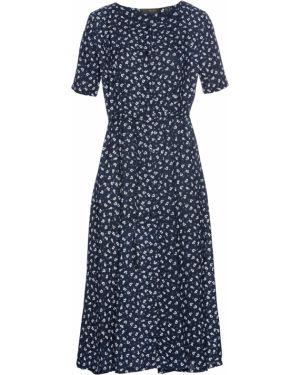 Платье с поясом на пуговицах с цветочным принтом Bonprix
