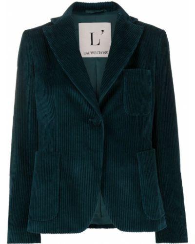 Приталенный синий удлиненный пиджак вельветовый L'autre Chose