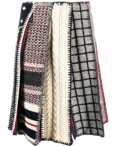 Плиссированная вязаная юбка твидовая Thom Browne