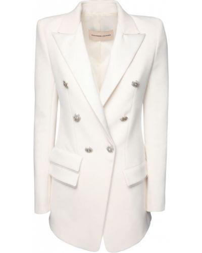 Белый удлиненный пиджак двубортный с карманами Alexandre Vauthier