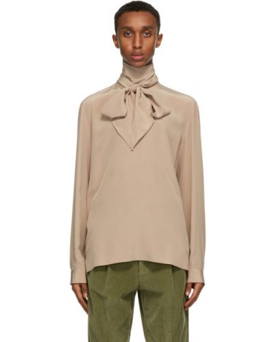 Jedwab z rękawami koszula z mankietami z kołnierzem Gucci