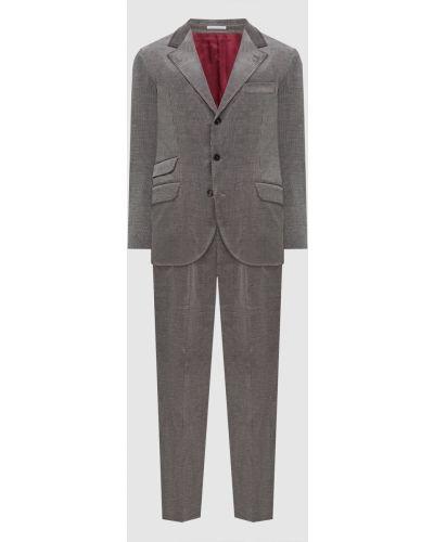 Костюмный серый костюм вельветовый Brunello Cucinelli