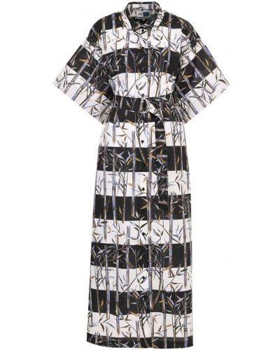 Платье с поясом в полоску черно-белое Kenzo