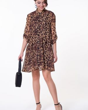 Платье на пуговицах леопардовое Valentina