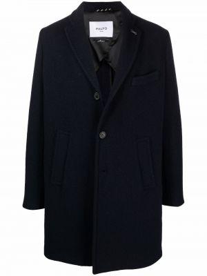 Czarny długi płaszcz wełniany Palto