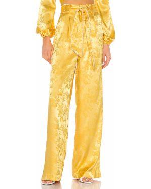 Złote żółte spodnie z paskiem Camila Coelho
