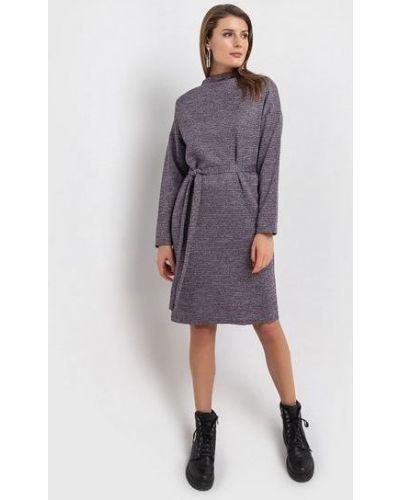 Повседневное фиолетовое теплое платье из вискозы с поясом Vovk