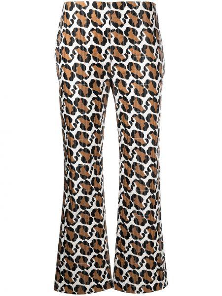 Шелковые прямые белые укороченные брюки Fendi