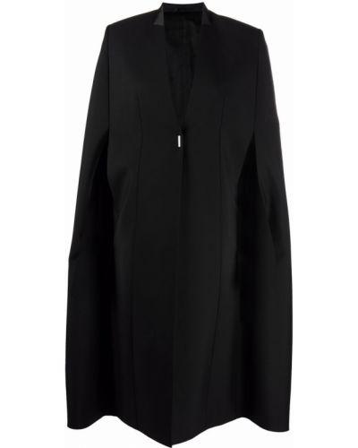Шерстяное черное дафлкот с V-образным вырезом Givenchy