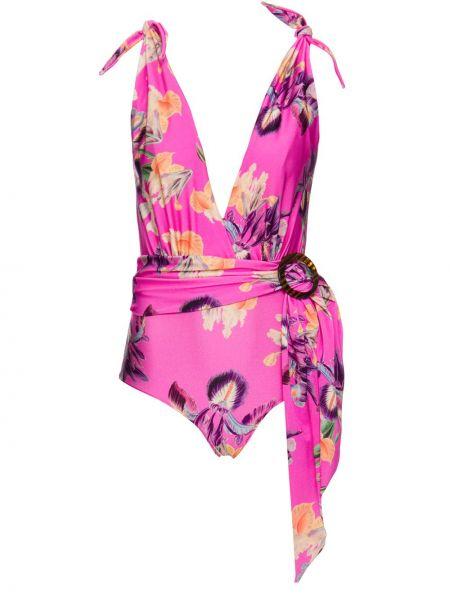 Пляжный розовый слитный купальник с вырезом с драпировкой Patbo