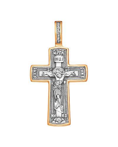 Золотистый крест золотой с декоративной отделкой серебро россии