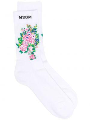 Хлопковые белые носки эластичные Msgm