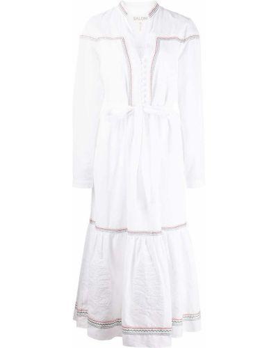 Белое хлопковое платье макси Saloni