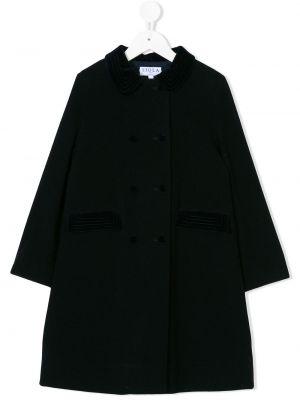 Синее шерстяное длинное пальто на пуговицах свободного кроя Siola