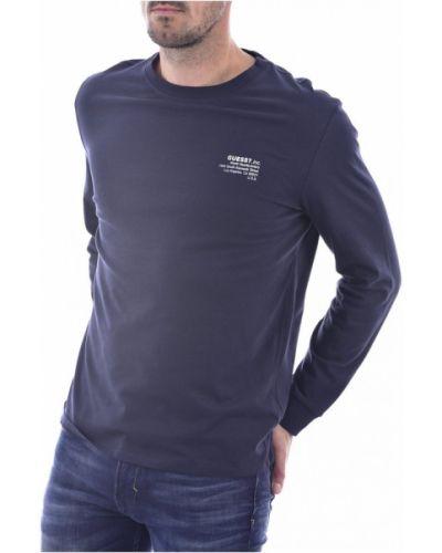 Niebieska koszula jeansowa bawełniana z długimi rękawami Guess