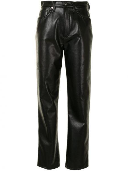 Bawełna skórzany czarny klasyczne spodnie z kieszeniami Agolde