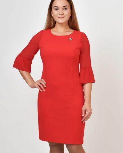 Платье миди красный осеннее Kontaly