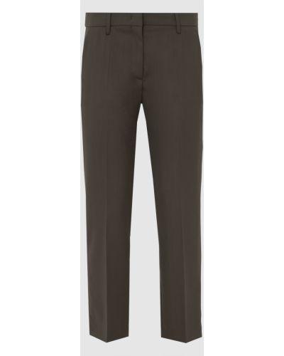 Повседневные зеленые шерстяные брюки Prada