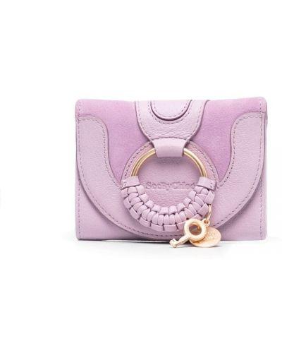 Fioletowy portfel na monety skórzany See By Chloe