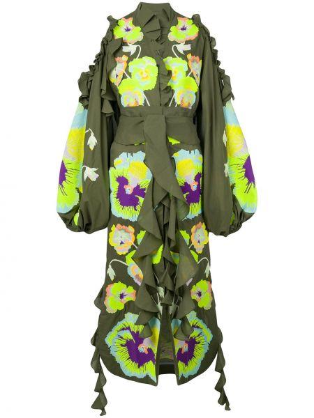 Хлопковое платье с вышивкой хаки на молнии Yuliya Magdych