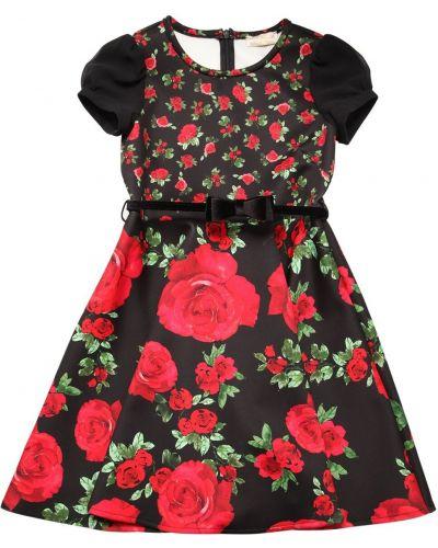 Платье мини из органзы с поясом Monnalisa
