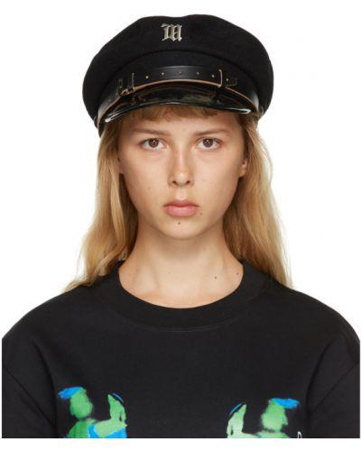 Czarny z paskiem wełniany czapka z klamrą Misbhv