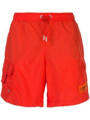 Оранжевые с кулиской короткие шорты на резинке с заплатками Heron Preston