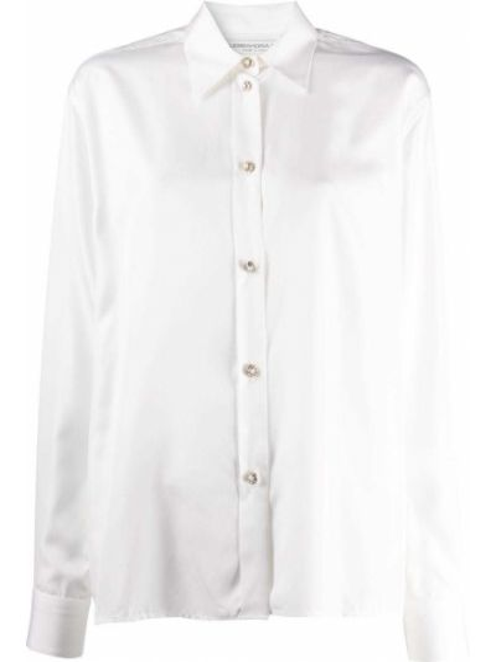 Biała koszula z jedwabiu zapinane na guziki Alessandra Rich
