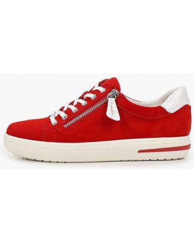 Красные кожаные низкие кеды Caprice