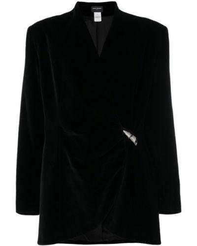 Черный удлиненный пиджак на пуговицах винтажный Paco Rabanne Pre-owned
