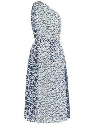 Синее платье миди в рубчик Oscar De La Renta